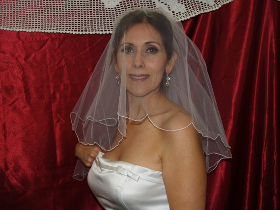 Brides Scalloped Blusher Wedding Veil, Short Two Tier White Veil, Scallop edge, Romantic
