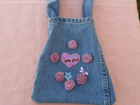 Small Denim bag, made from recycled old levis jeans, rosettes, upcycle, recycle denim, denim shoulder bag, cell smart phone purse, jeans