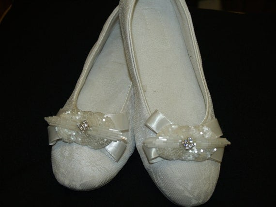 Wedding White Flats  Vegan Shoes big beaded  bow and rhinestones brooch center