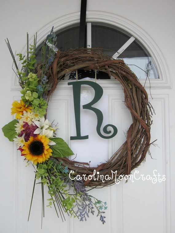 Personalized Monogram Grapevine Wreath for Spring or Summer in greens and yellows