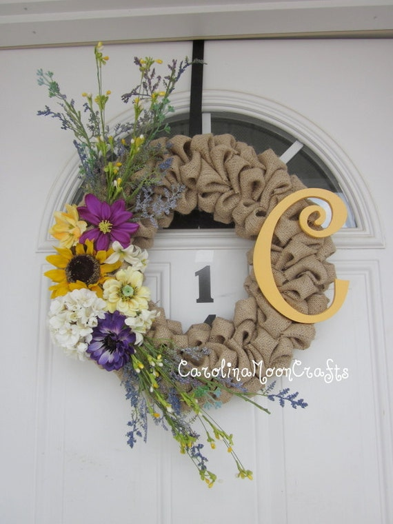 Shabby Chic Burlap Bubble with Monogram Letter for Spring and Summer wreath...