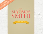 Custom 'Mr & Mrs' Print - Apricot and Yellow