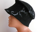 Black felted women hat from merino wool - made to order