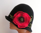 Handmade felted womens black hat with red poppy from merino wool - spring fashion