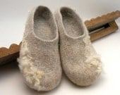 Felted slippers Neutral - size 7 US, 37.5 EU, 4.5 UK -  eco friendly