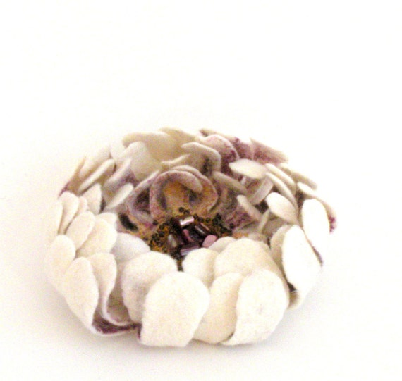 Felt flower pin brooch - natural white purple yellow flower - felted flower - ready to ship - floral jewelry - bridal accessories