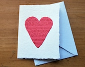 Dark pink music heart card and envelope, handmade paper