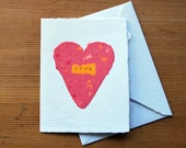 Raspberry pink and yellow heart card and envelope, handmade paper