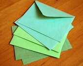 Assortment of green envelopes, handmade recycled paper, set of 6