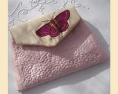 silk purse with butterfly, in pale pink silk with bronze, cerise and gold embroidery