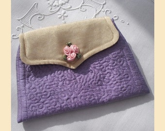 Handmade Wedding Purse in violet silk with cream and gold front flap and ribbon rose trim, optional personalisation