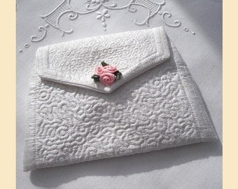 wedding purse handmade in ivory quilted silk - 'Rosie' design, with optional personalisation