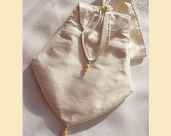 wedding purse handmade in ivory silk -  'Emmy' design, with pearl bead or Swarovski crystal trim and optional personalisation