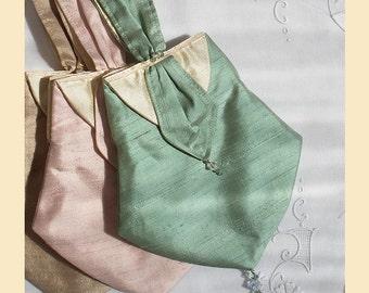 wedding purse in silk with Swarovski crystal trim - 'Emmy' design, available in pistachio, almond, sugar pink or violet