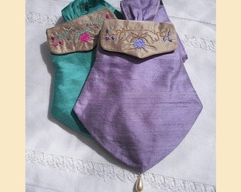 wedding purse in silk with embroidered detail, available in violet, mint, rosy lilac or almond with optional personalisation