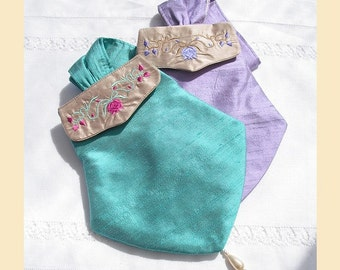 silk purse, handmade with embroidered detail and pearl bead trim - 'Marianne' design, available in mint, rosy lilac, violet or almond