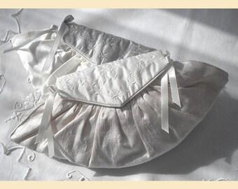 wedding purse, ivory silk,embroidered purse, silver, bridal purse, personalisation