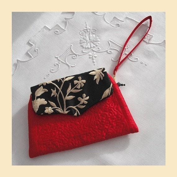 wristlet purse in quilted silk with jet Swarovski crystal trim -  'silk branches' design, available in red, royal blue and cerise