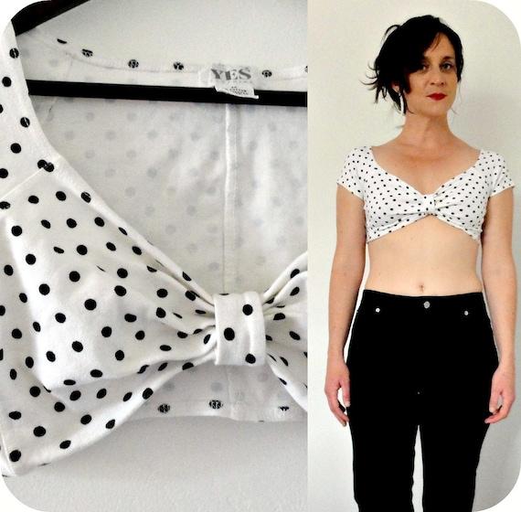retro polka dots // cap sleeve crop top // black & white //  small-medium