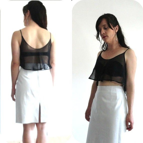 "80s ALL LEATHER White Skirt // Knee Length & High Waist   // Size Large 30-31"" Waist"