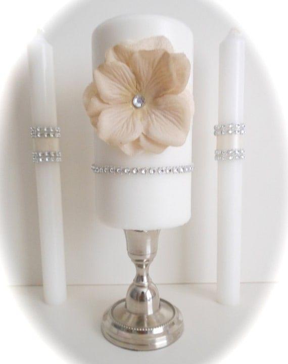 Vintage glam wedding unity candle set - SALE