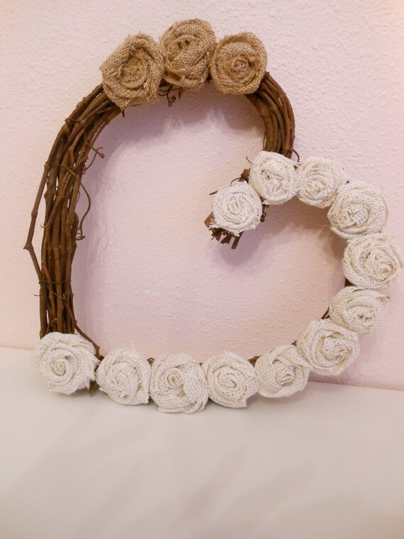 Shabby chic- Burlap rosettes heart shaped wreath