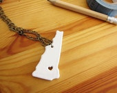 Custom Prideful New Hampshire Ceramic State Necklace