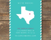 State Map Moving Announcement Printable - New Home - New Address Card - All States