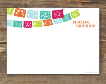 Fiesta Thank You Card Printable - Papel Picado