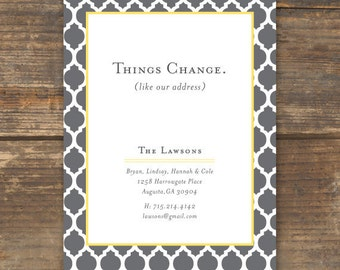 Moving Announcement, New Home, New Address Card Printable - Things Change