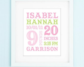Modern Girl Nursery Printable - Baby Gift