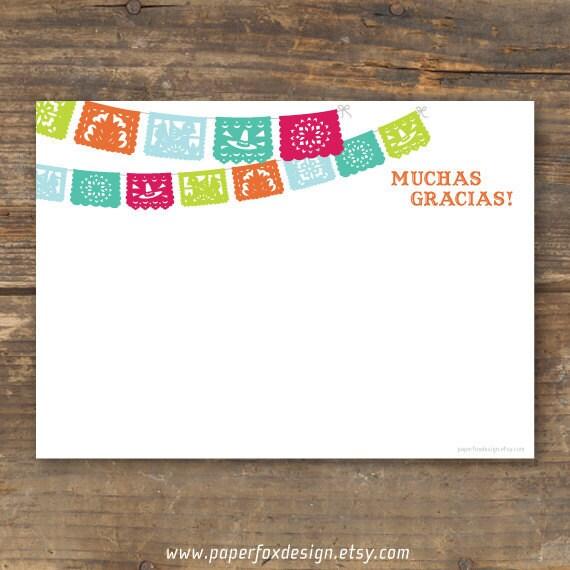 Fiesta Thank You Card Printable Papel Picado