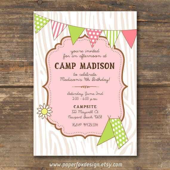 Camping Theme Invitations: Camp Theme Birthday Invitation Printable By PaperFoxDesign