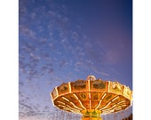 Carnival midway fine art photograph, California State Fair no 3, fine art photography 8x12, sunset, carousel, metallic