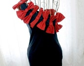 SALE French Mademoiselle Avant Garde antic big red bows one shoulder cocktail party event dress Navy