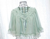 SALE Fairytale woodland chiffon fresh mint pale green chiffon kimono sleeves cape blouse white lace trim ruffles
