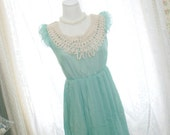 Alice in wonderland mint green crocheting lace neckline pleated chiffon dress ruffles sleeves