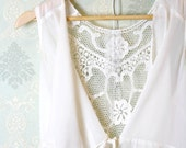 Romantic Spring embroidery back drape collar sleeveless chiffon blouse jacket cape ivory cream layering night gown