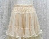 Romantic beige ivory lace skirt tutu tulle pleated mini skirt victorian smocked waist tube top babydoll