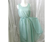 GODDESS Mint Green 2 layers airy flowing tunic dress chiffon elegance sundress