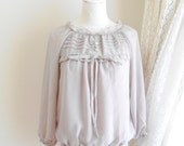 Sweet Sophisticated Light Gray Grey Ruffles Trim Round Neck Bow knot Chiffon blouse top Sheer Sleeves Size Medium