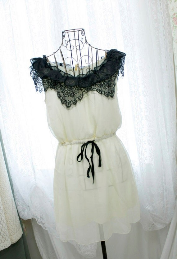 Edwardian marie antoinette cream pale baby yellow chiffon black fringed lace ruffles tank sun dress