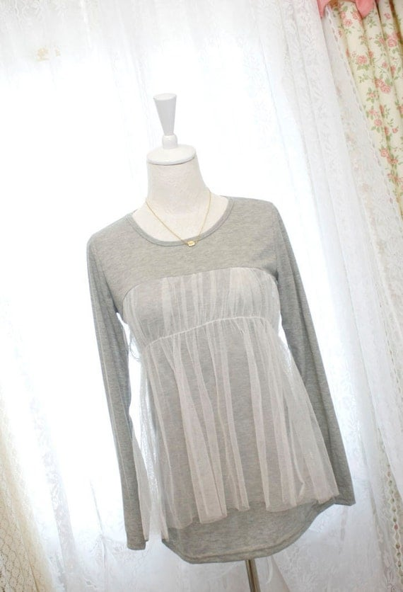 Casual Romantic light gray tshirt tutu ballerina style white tulle long sleeve