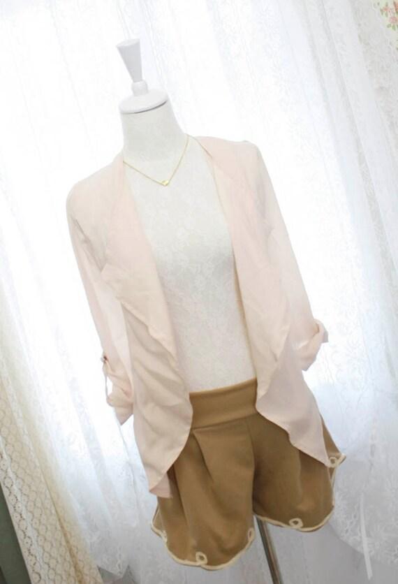 Urban Chic beige chiffon drape jacket blouse sheet dreamy romantic layering open front