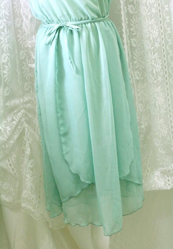 Goddess Mint Green 2 Layers Airy Flowing Tunic Dress Chiffon