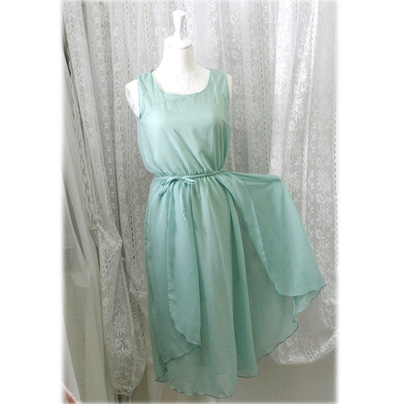 GODDESS Mint Green 2 layers airy flowing tunic dress chiffon elegance sundress
