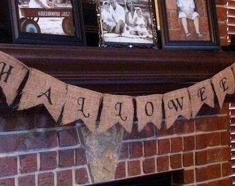 HALLOWEEN BURLAP BANNER, Halloween Decorations Vintage, Rustic Halloween Decor, Vintage Halloween Decor, Halloween Bunting, Halloween Mantle