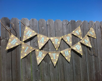 Mini Yellow and Blue Happy Birthday Burlap Banner / Bunting