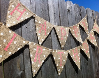HAPPY BIRTHDAY BURLAP Banner, Birthday Decorations, Birthday Decor, Girl Birthday Banner, Custom Birthday Banner, Pink Birthday Banner