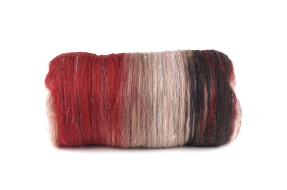 Art fiber Batt for Spinning or Felting, Black White and Red All Over, by WoolWench